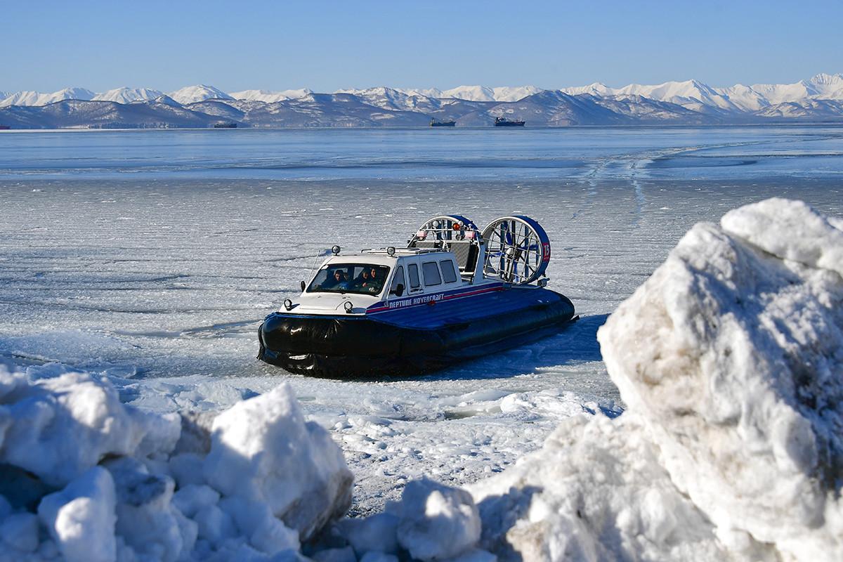 Neptun 15 hovercraft on Kamchatka Peninsula.