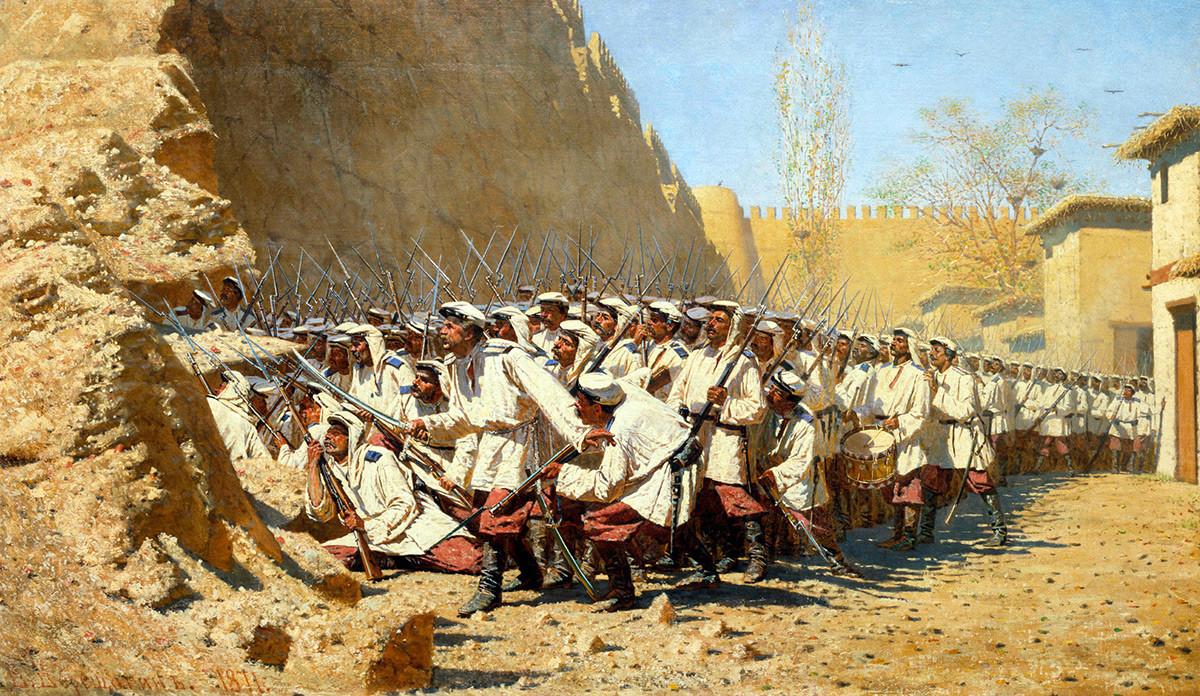 An den Festungsmauern. Lass sie eintreten, 1871