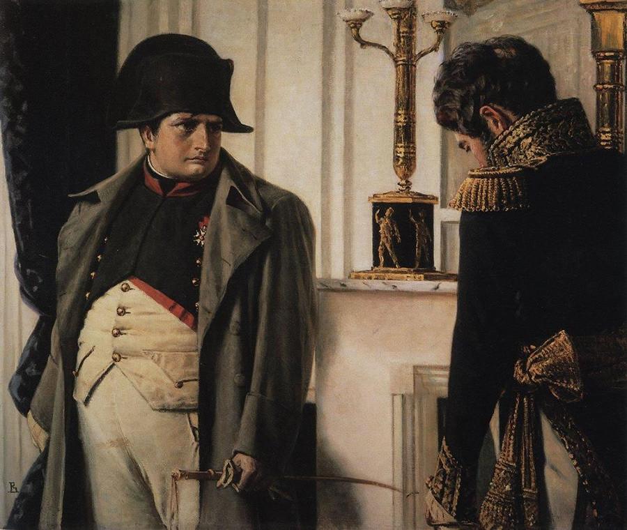 """Napoleon und Marschall Lauriston (""""Frieden um jeden Preis!""""), 1900"""