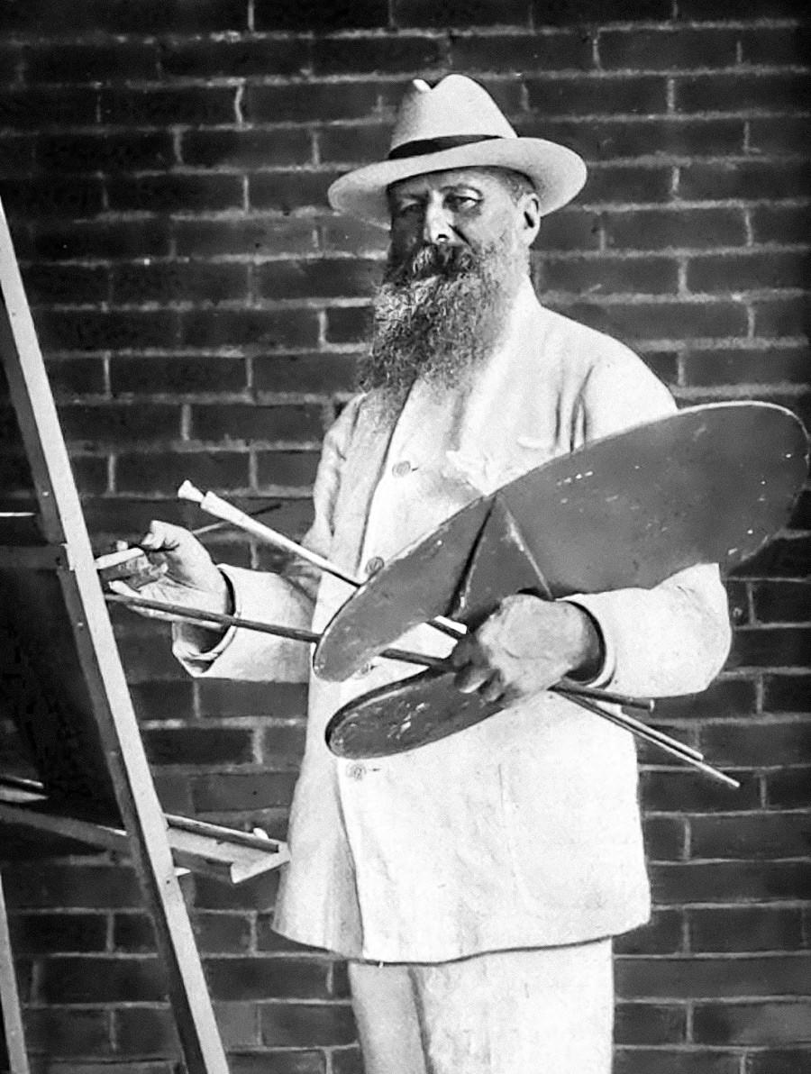 画架の前のヴェレシチャーギン、1902年
