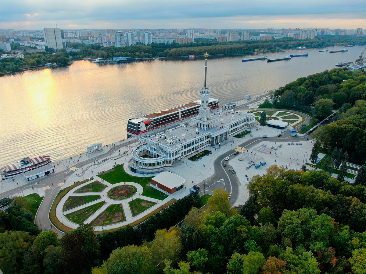 Aerial view is a beautiful panorama of the renovated Northern River Station in Moscow