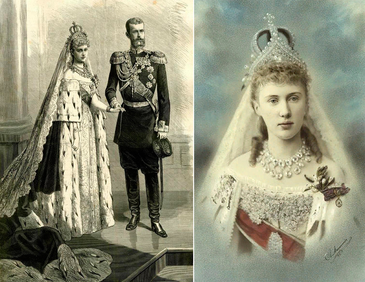 大公妃エリザヴェータ・フョードロヴナとセルゲイ・アレクサンドロヴィチ大公の結婚写真、1884年