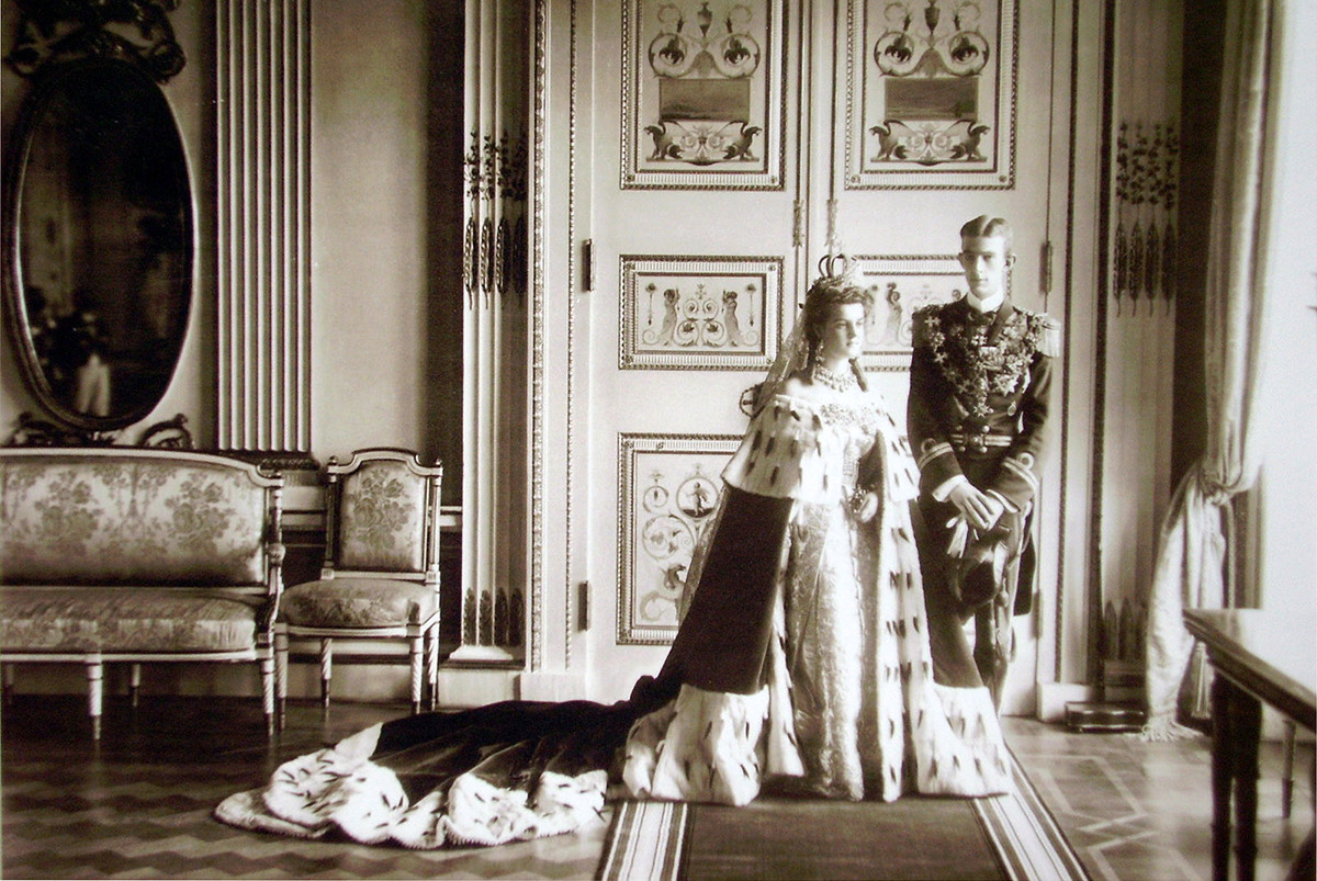 The wedding of the Grand Duchess Maria Pavlovna, the granddaughter of Alexander II, and Prince Wilhelm, Duke of Södermanland, a Swedish and Norwegian prince. 1908.