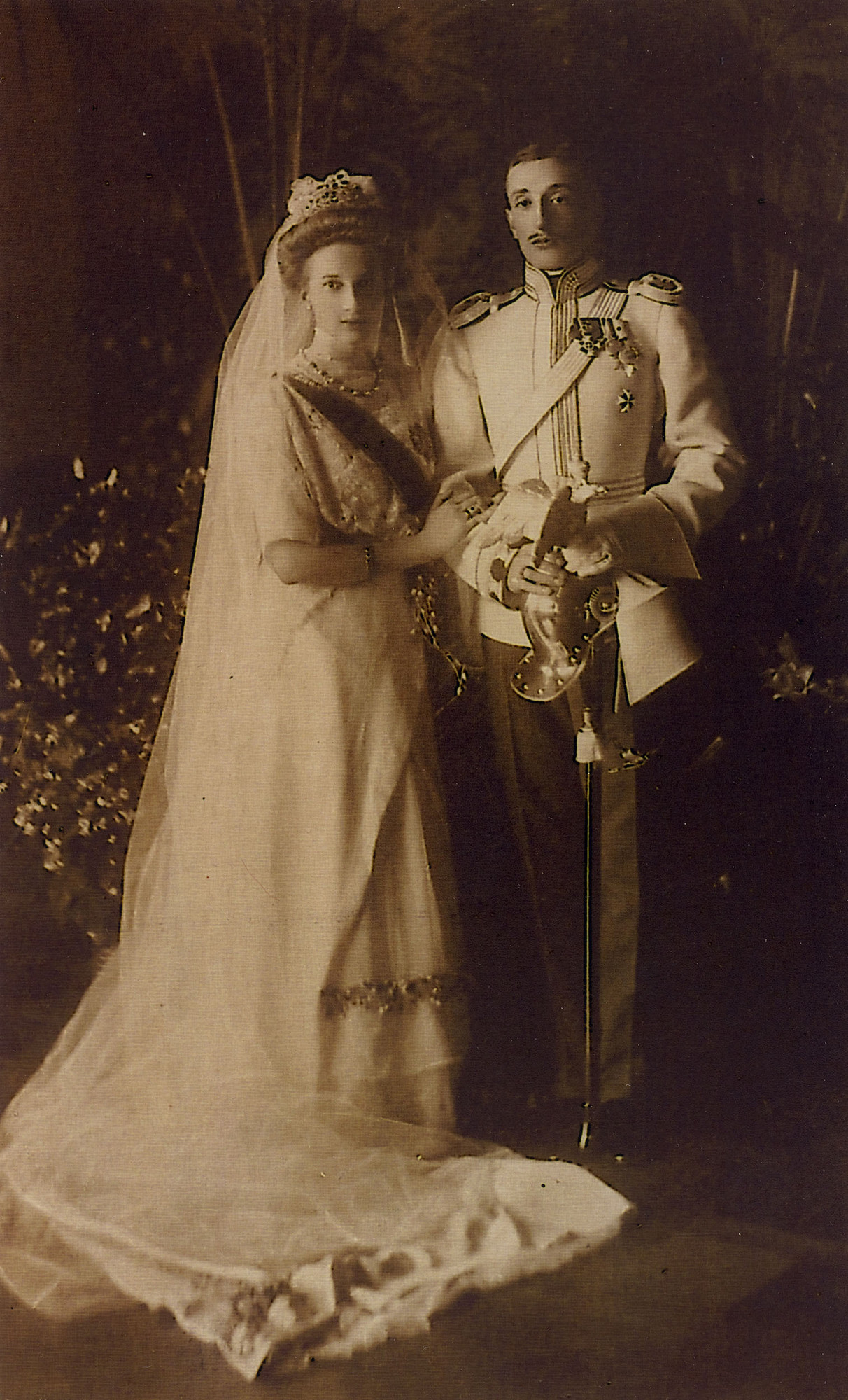 A wedding photo of the Georgian Prince Konstantine Bagration of Mukhrani and Princess Tatiana Constantinovna.