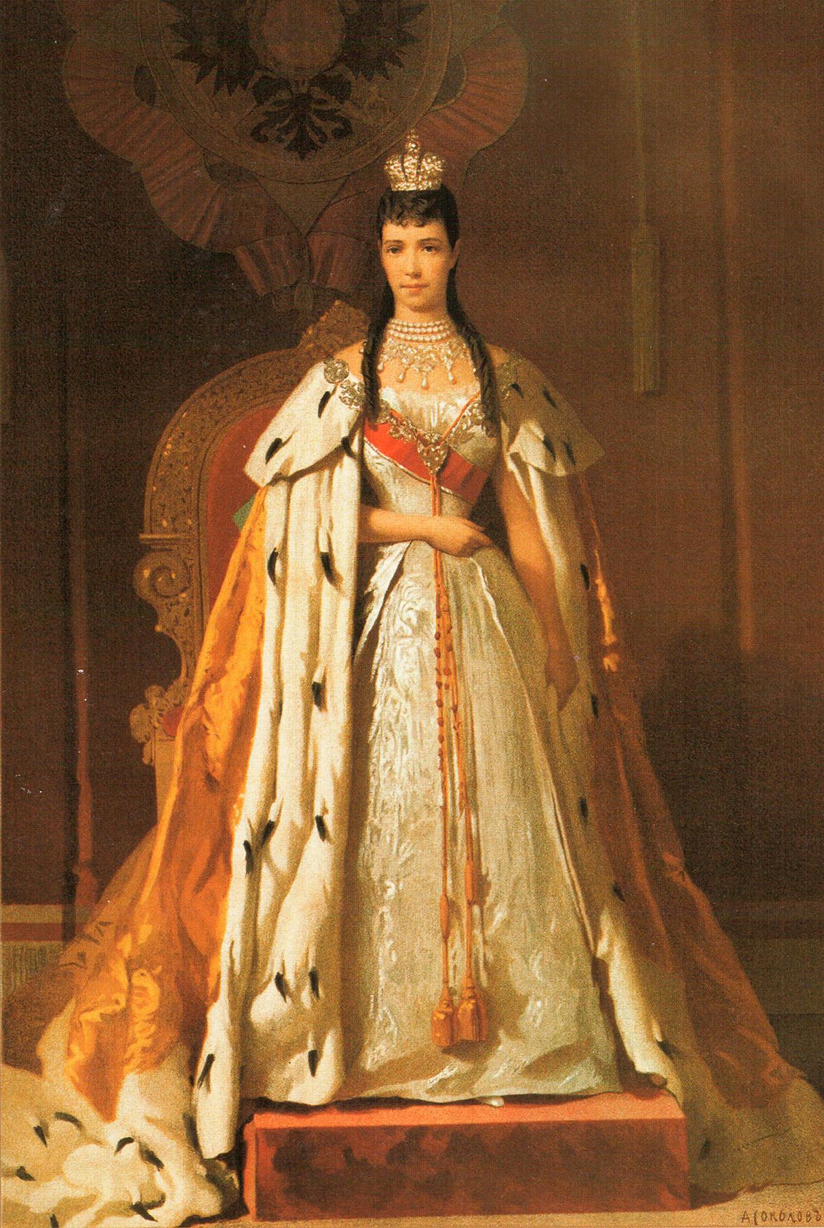 Императрица Мария Фьодоровна с коронационни дрехи на 15 май 1883 г.