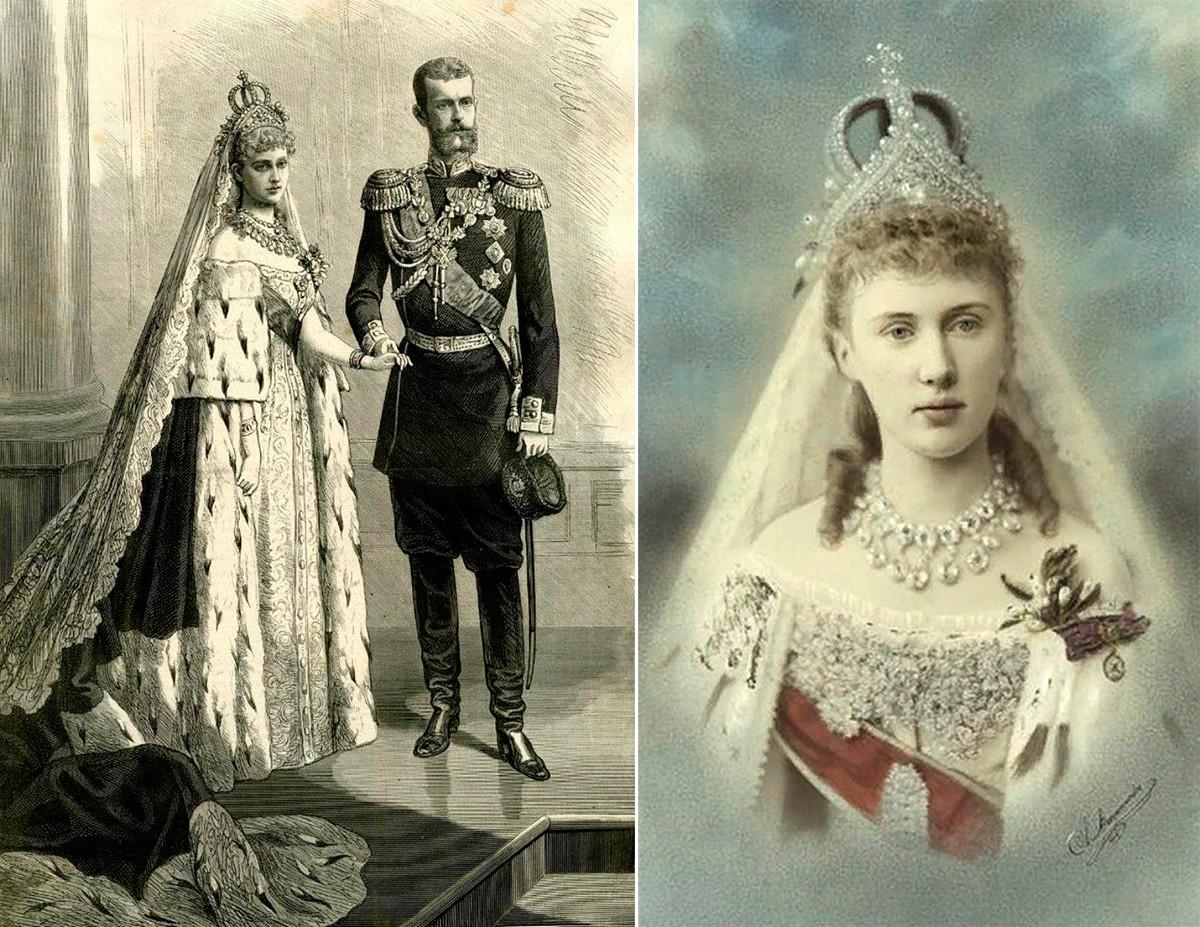 """На 3 (15) юни 1884 г. принцеса Елизабет е омъжена за великия княз Сергей Александрович в придворната катедрала на Зимния дворец; """"Мавра"""" (принцеса Елизабет Саксейска Алтенбург) в сватбената си носия, април 1884 г."""
