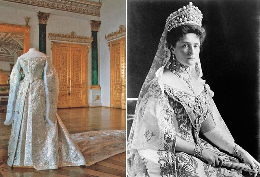 Сватбена рокля на Александра Фьодоровна от Ермитажа; Александра Фьодоровна (вдясно).