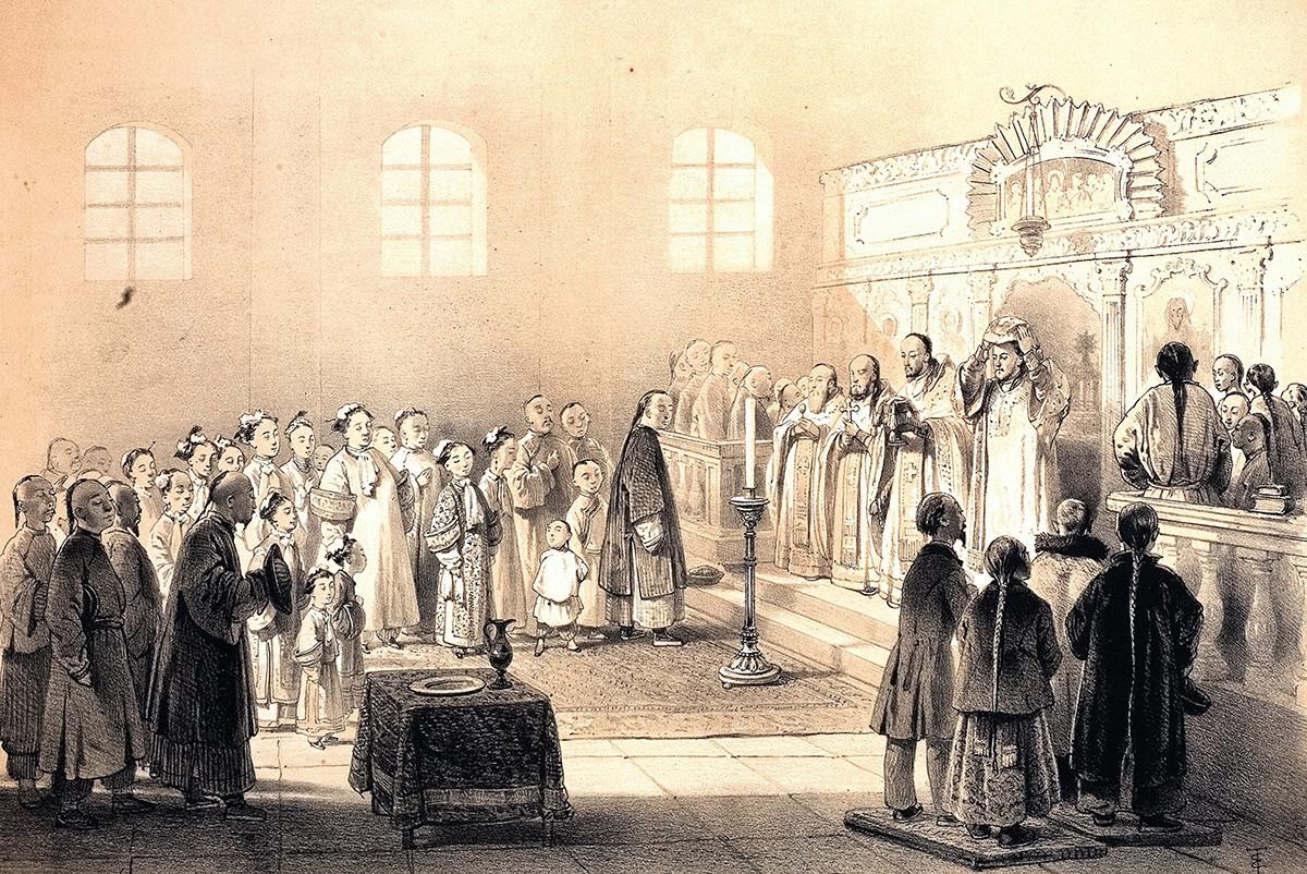 Потомки казаков-албазинцев на православной литургии в конце XIX века.