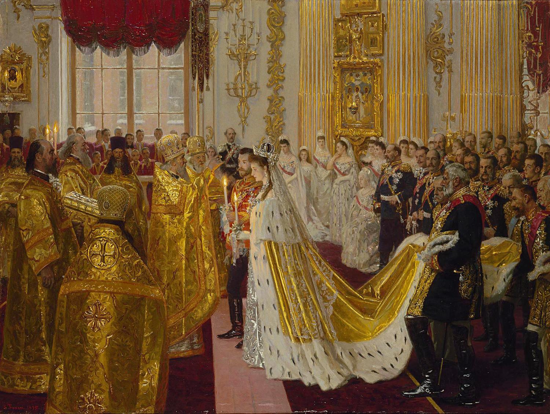Die Hochzeit von Nikolaus II. und Alexandra Fjodorowna.