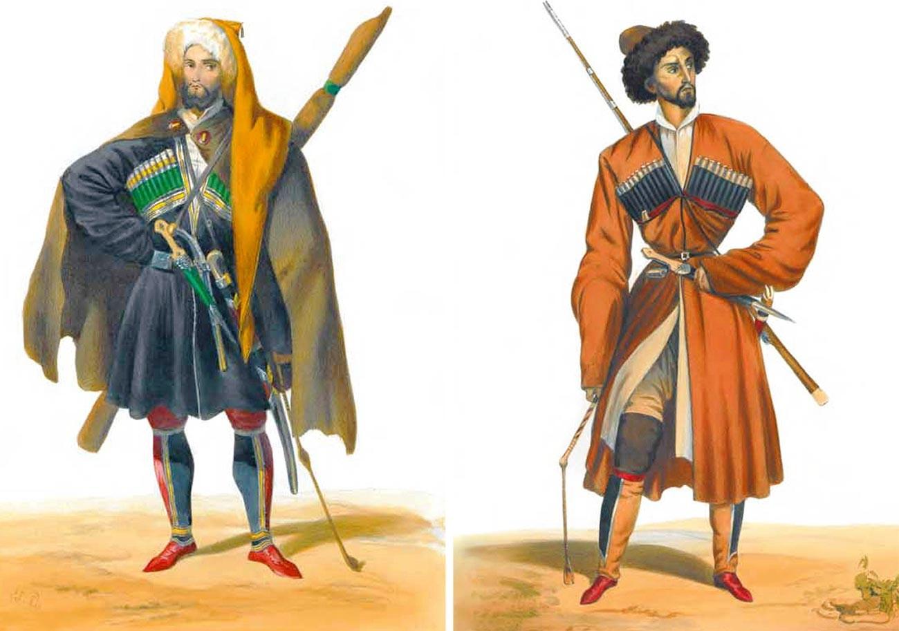 À droite: un Tcherkesse d'Anapa, à gauche: un Kabarde