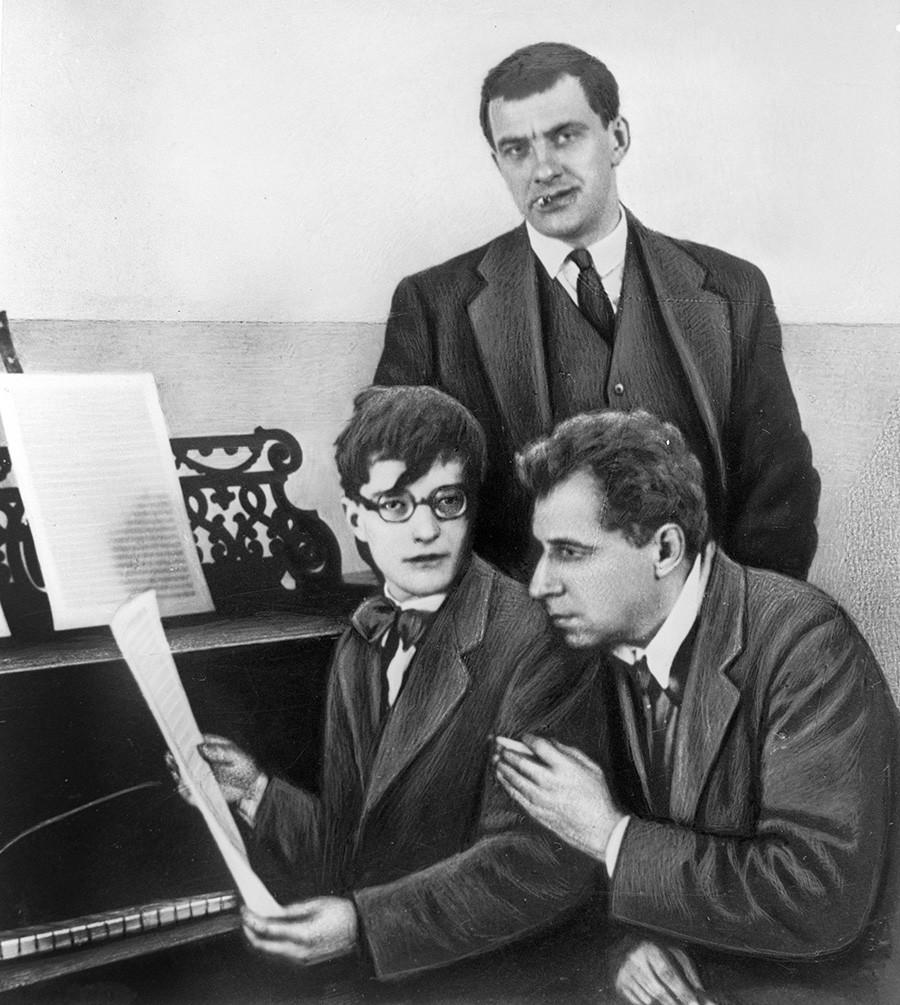 Dmitri Shostakovich, Vladimir Mayakovsky and Vsevolod Meyerhold in 1929.