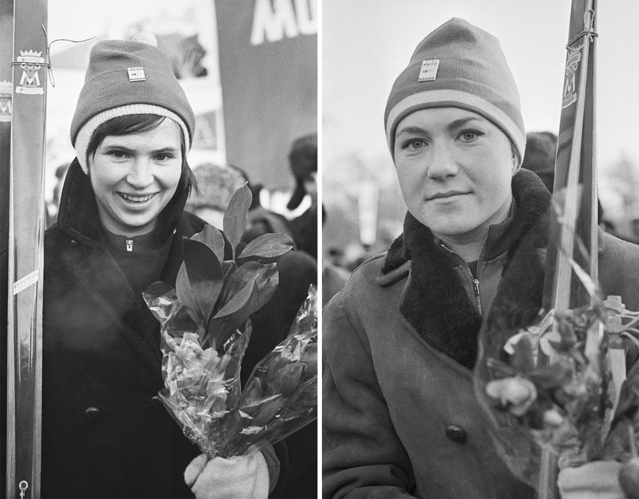Les sportifs de l'équipe Metelitsa Tatiana Diakonova et Nadejda Kouzina après la traversée à ski de l'itinéraire Moscou-Leningrad-Helsinki-Tornio (2600 km), dédiée au 100e anniversaire de Vladimir Lénine