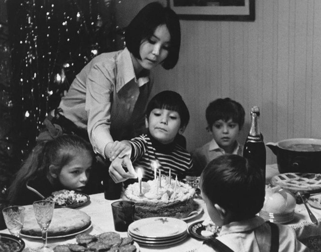 A birthday party of future Russian movie director Egor Konchalovsky in 1972.