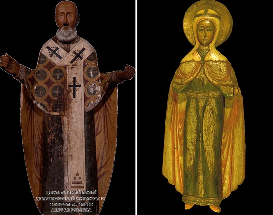 Links: eine Holzstatue des Heiligen Nikolaus von Moschaisk aus dem 17. Jahrhundert; rechts: eine Statue der großen Märtyrerin Paraskeva aus dem 17. Jahrhundert.