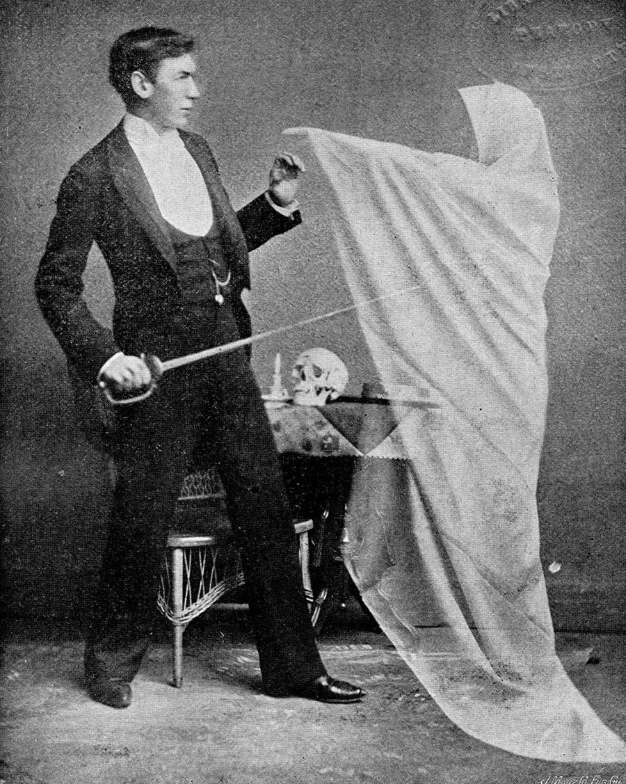 Spirit photograph showing a man with a 'ghost'