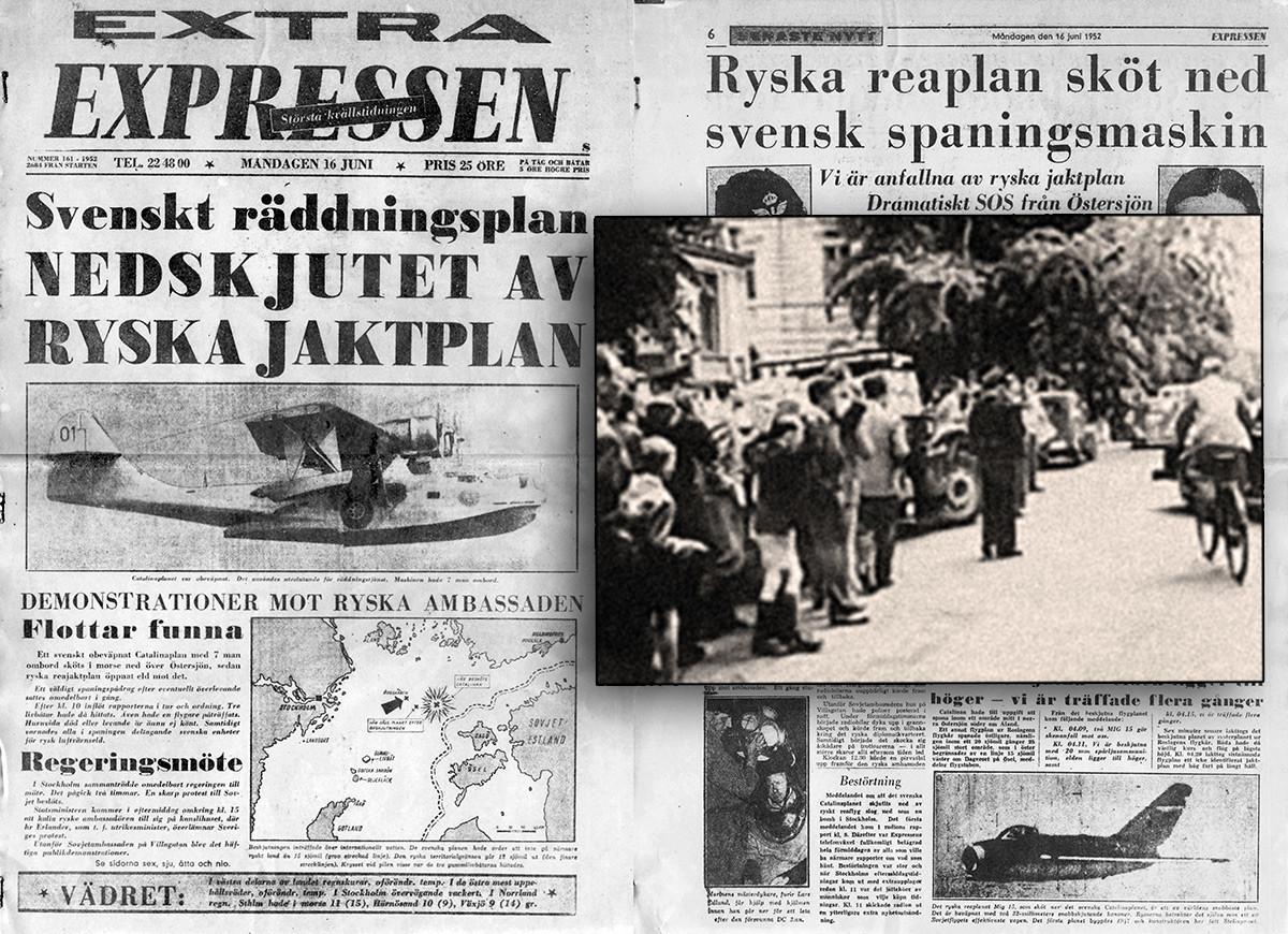 """Написи во шведските весници посветени на """"случајот Каталина"""" и Швеѓани пред руската амбасада во Стокхолм по соборувањето на нивниот авион."""