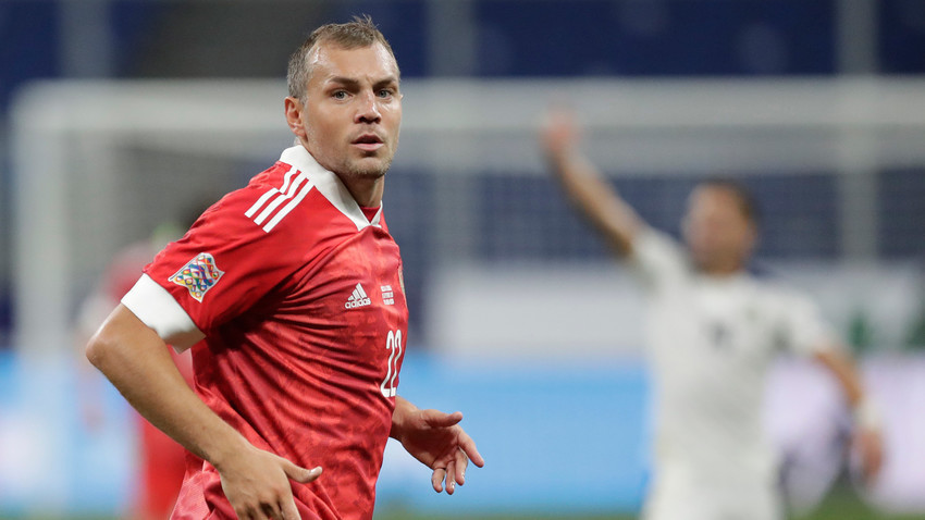 Играчът на руския национален отбор Артьом Дзюба в мача от 1-ви кръг на Лигата на нациите на УЕФА между националните отбори на Русия и Сърбия.