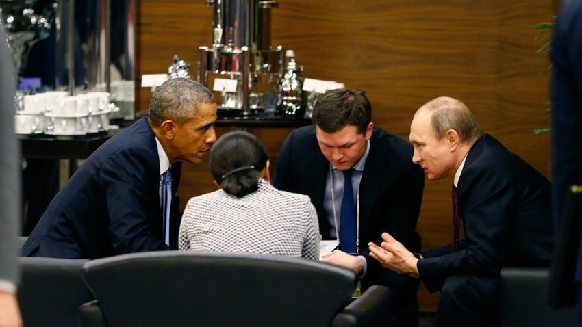Путин и Обама на срещата на върха на Г-20 в Анталия през 2015 г.