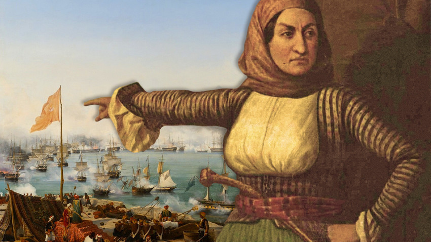 "Komposit lukisan ""Pertempuran Navarino"" karya Ambroise Louis Garneray dan lukisan ""Laskarina Bouboulina"" (pelukis tidak diketahui)."