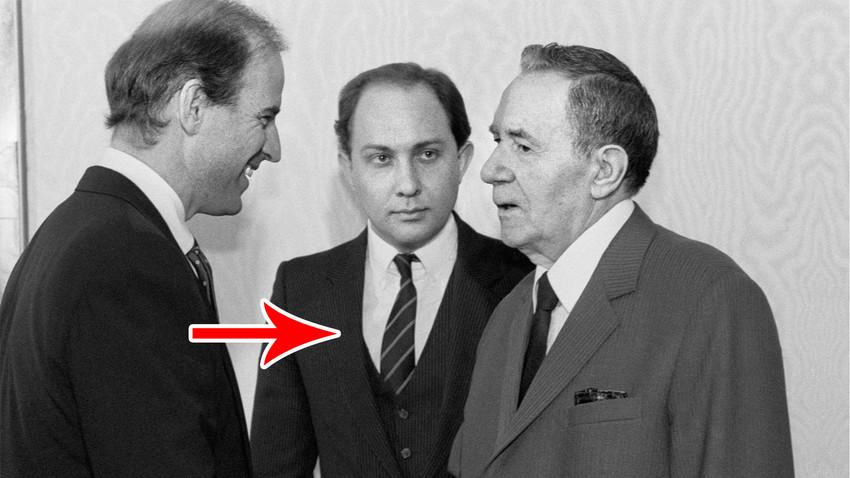 Joseph Biden, Wiktor Prokofjew und Andrei Gromyko im Jahr 1988