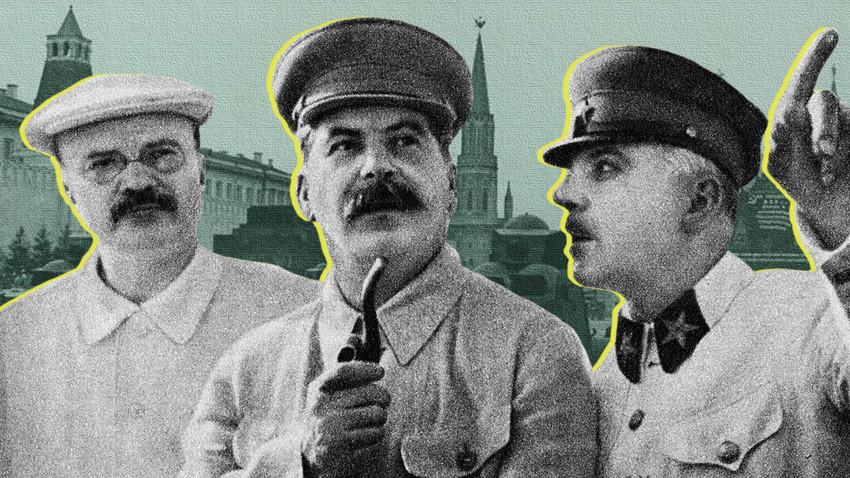 Viatcheslav Mólotov (esq.), Iôssif Stálin (meio) e Kliment Vorochilov (dir.), 1937.