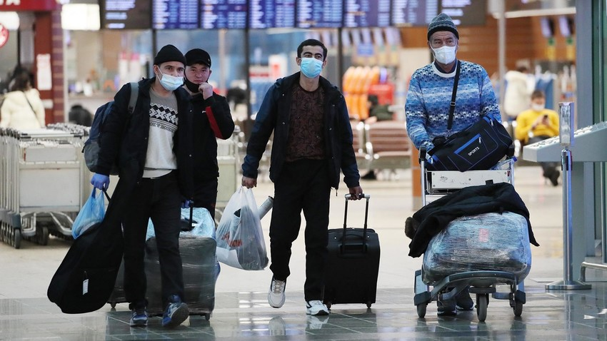 Migrants from former Soviet republics arriving to work in Moscow, Sheremetyevo Airport.