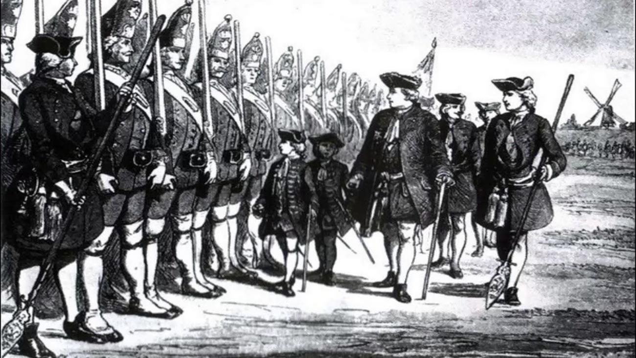 Kralj Pruske Fridrik Vilim I. na smotri svoje visoke garde poznate kao