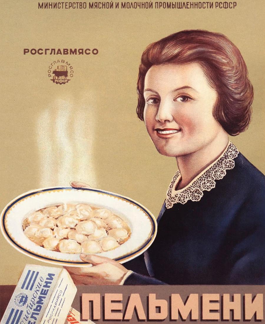 """""""Pelmenis siberianos de carne"""", anuncio de RosGlavMeat."""