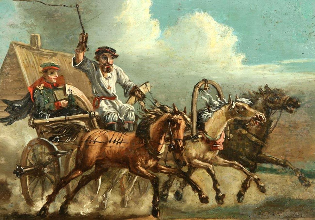Фельдъегерь. Картина неизвестного художника с рис. А. Орловского.