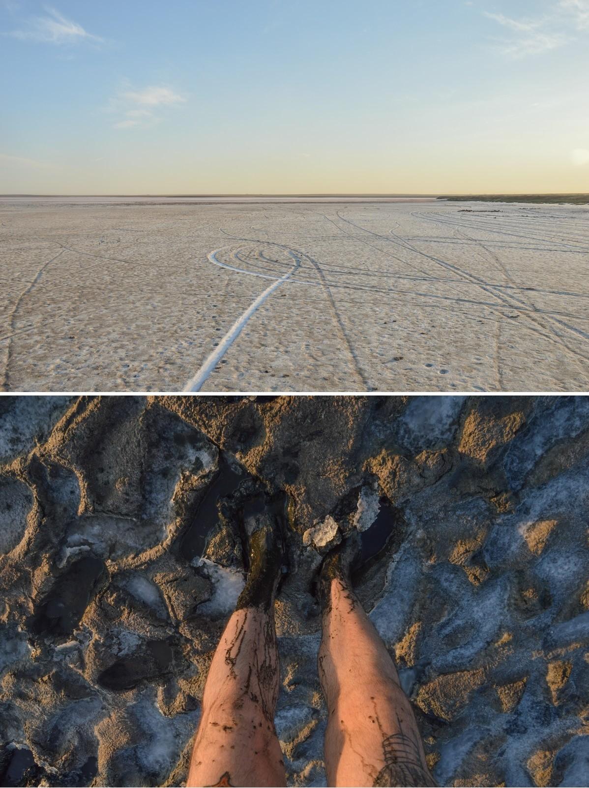 Le lac salé de Koltan-Nour. Le sol renferme une boue noire aux propriétés curatives appréciées.