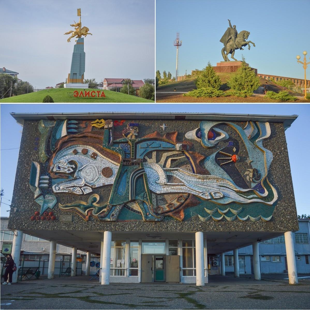 Le cheval, symbole du nomadisme, est omniprésent dans Elista, qu'il s'agisse de statues ou d'une sublime mosaïque soviétique sur la façade de la gare ferroviaire.