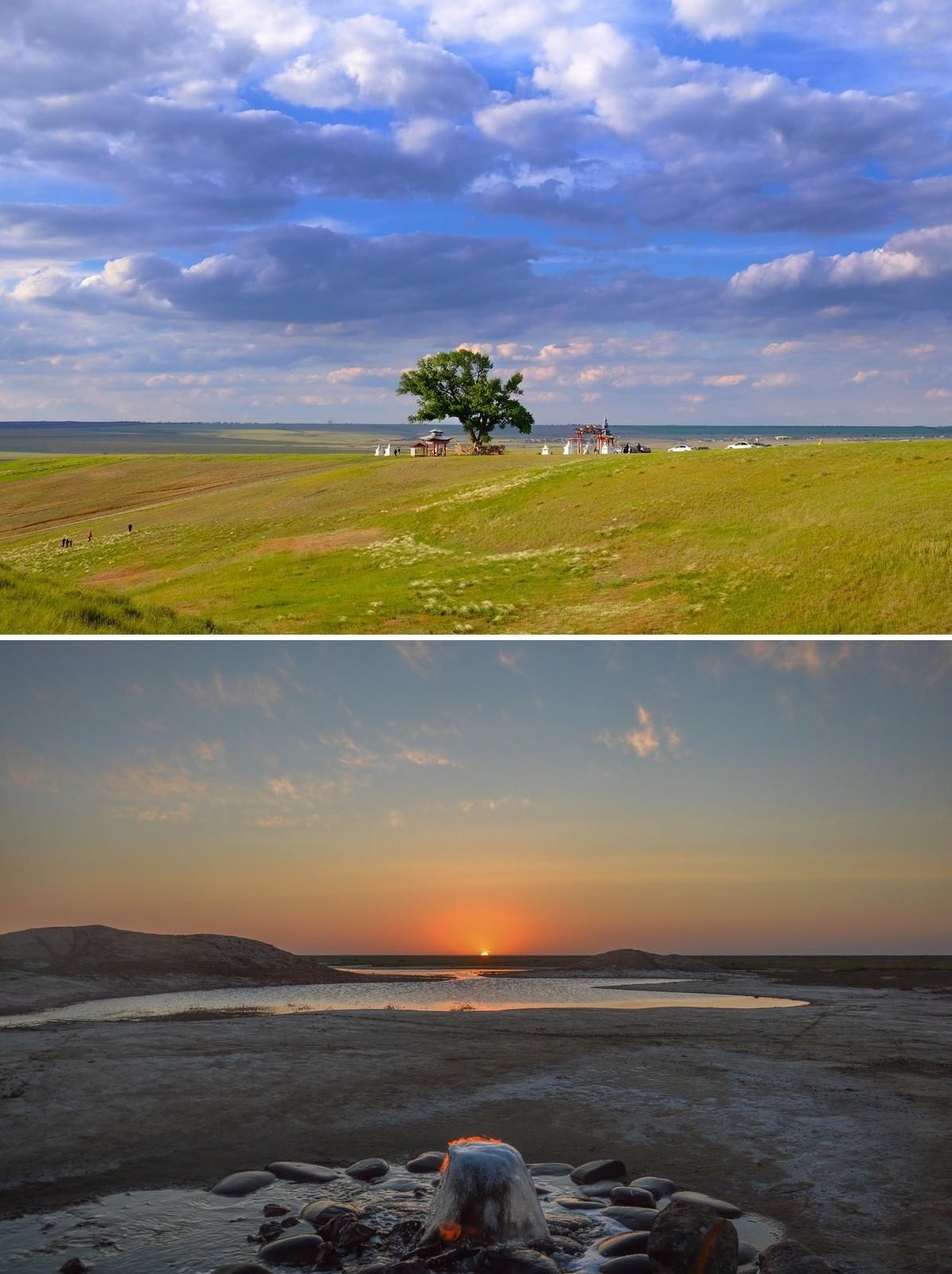 Planté par un moine bouddhiste en 1846, le « Peuplier solitaire » domine la steppe kalmouke. Sur la deuxième photo: une source d'eau salée émettant également du gaz, ce qui permet de l'enflammer et d'y passer la main sans se brûler. Assistez en vidéo à ce phénomène en suivant le lien ci-dessous.