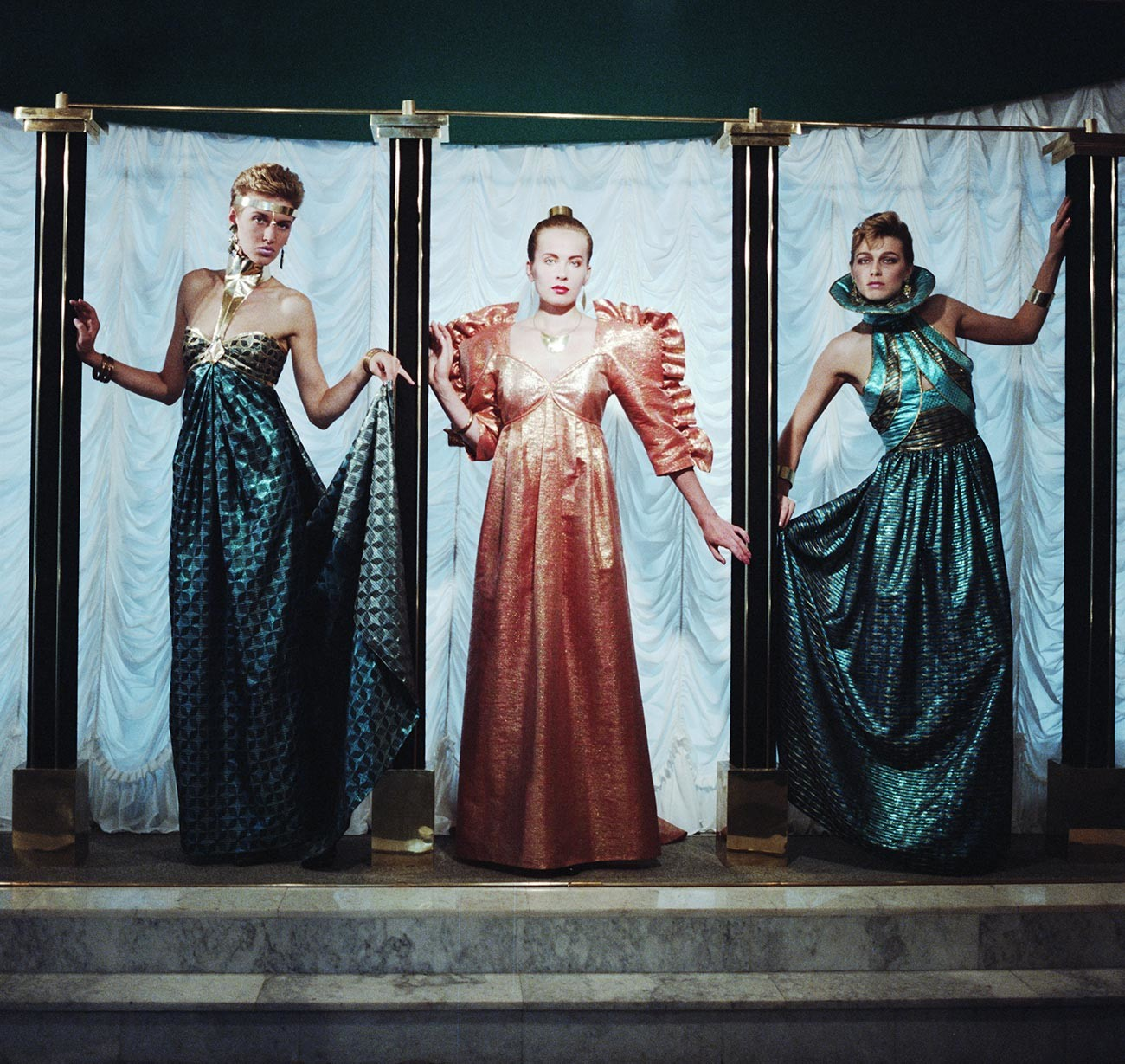 Arbat Fashion House, 1989. Evening dresses of colored brocade.