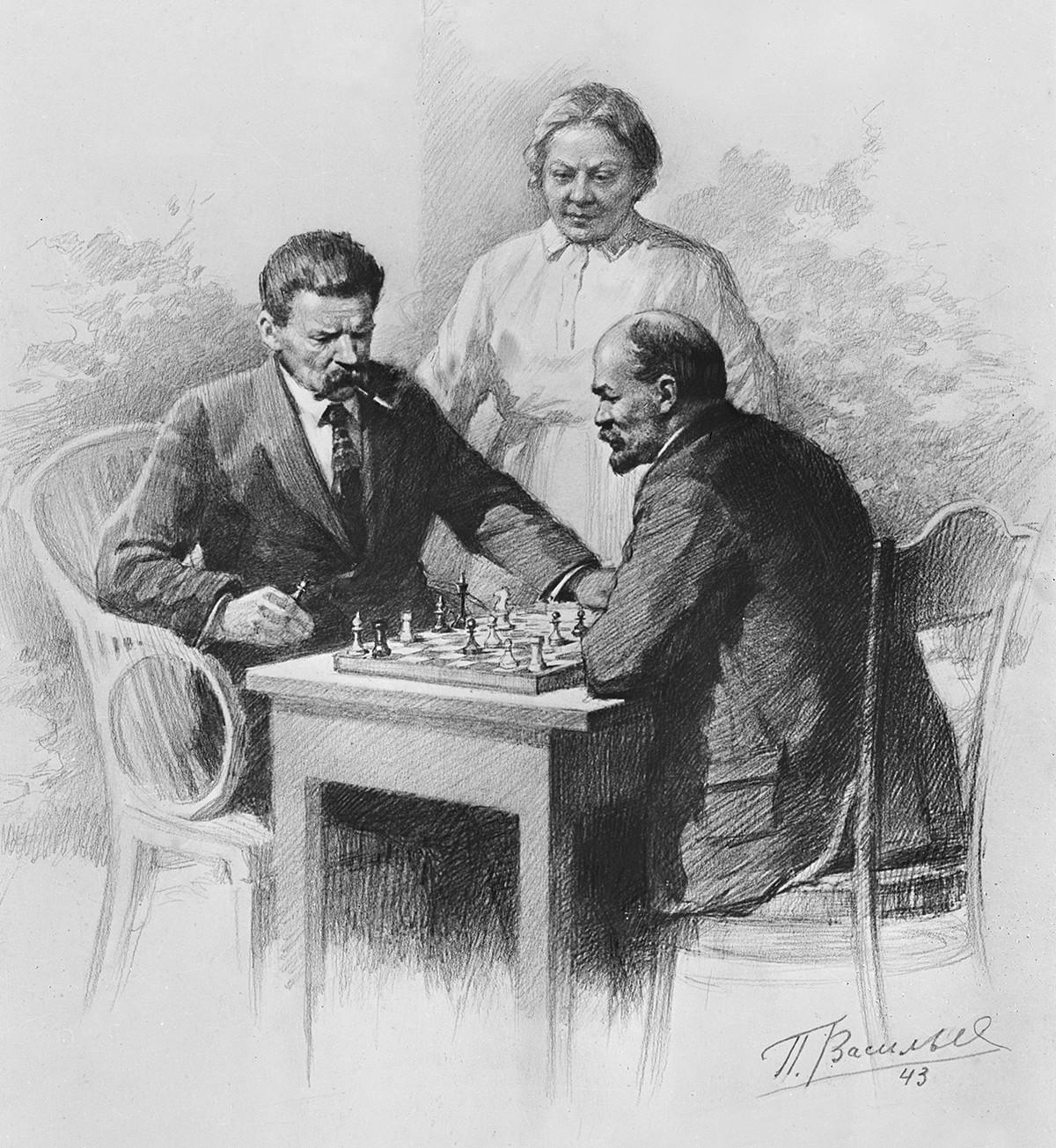 Lénine, l'écrivain Maxime Gorki et Nadejda Kroupskaïa, la femme de Lénine