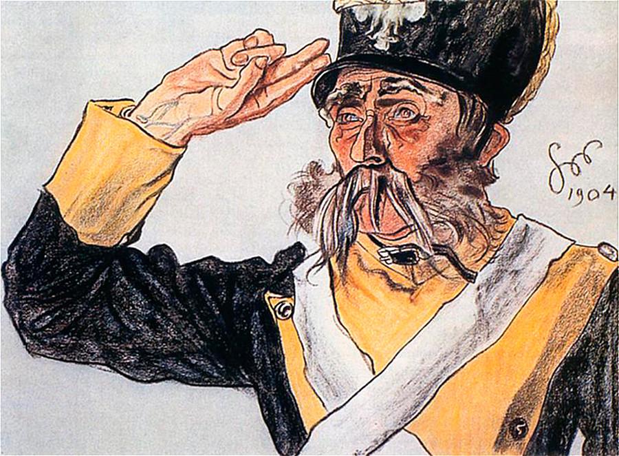 Portret Ludvika Solskega v vlogi starega vojaka v predstavi Varšavjanka (1904)