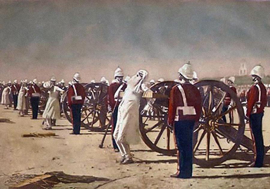 Pogubljenje sepoja topovskom paljbom prilikom gušenja ustanka u Indiji.