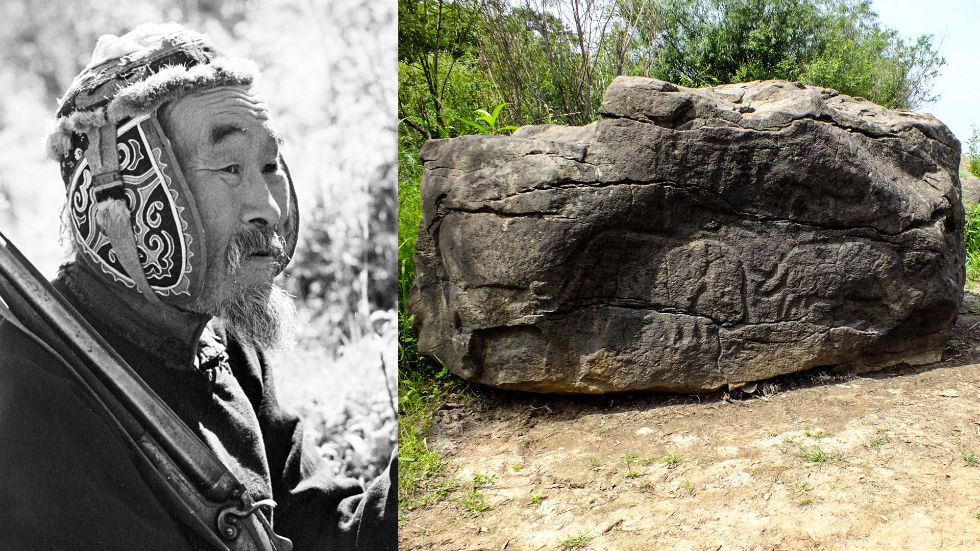 Un Nanaï et un pétroglyphe de Sikatchi-Alian représentant des mammouths et d'autres animaux
