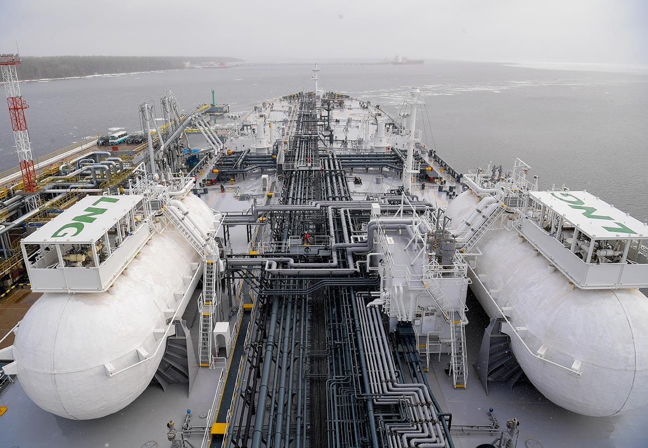 Sebuah kapal tanker di Teluk Finlandia.
