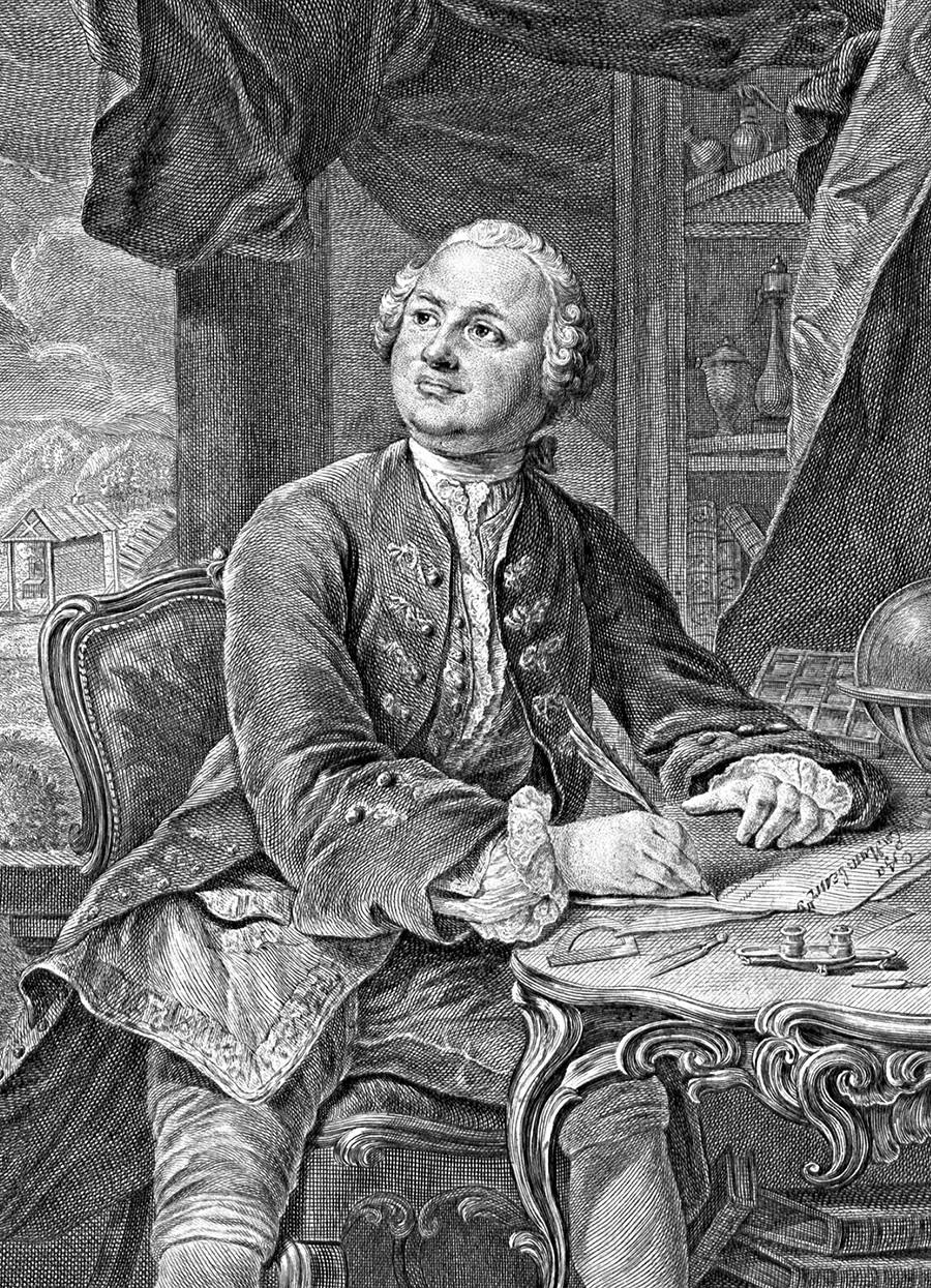 Mikhail Lomonosov in un'incisione di C.A. Wortmann ed E. Fessard