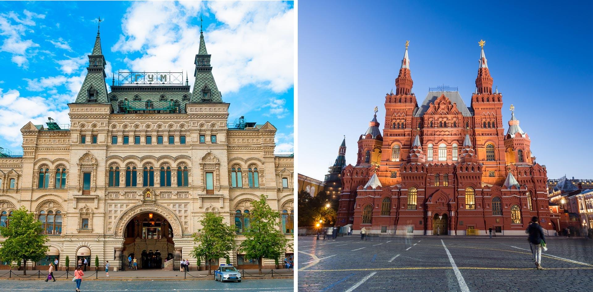 À gauche: le GOuM, à droite: le Musée historique d'État