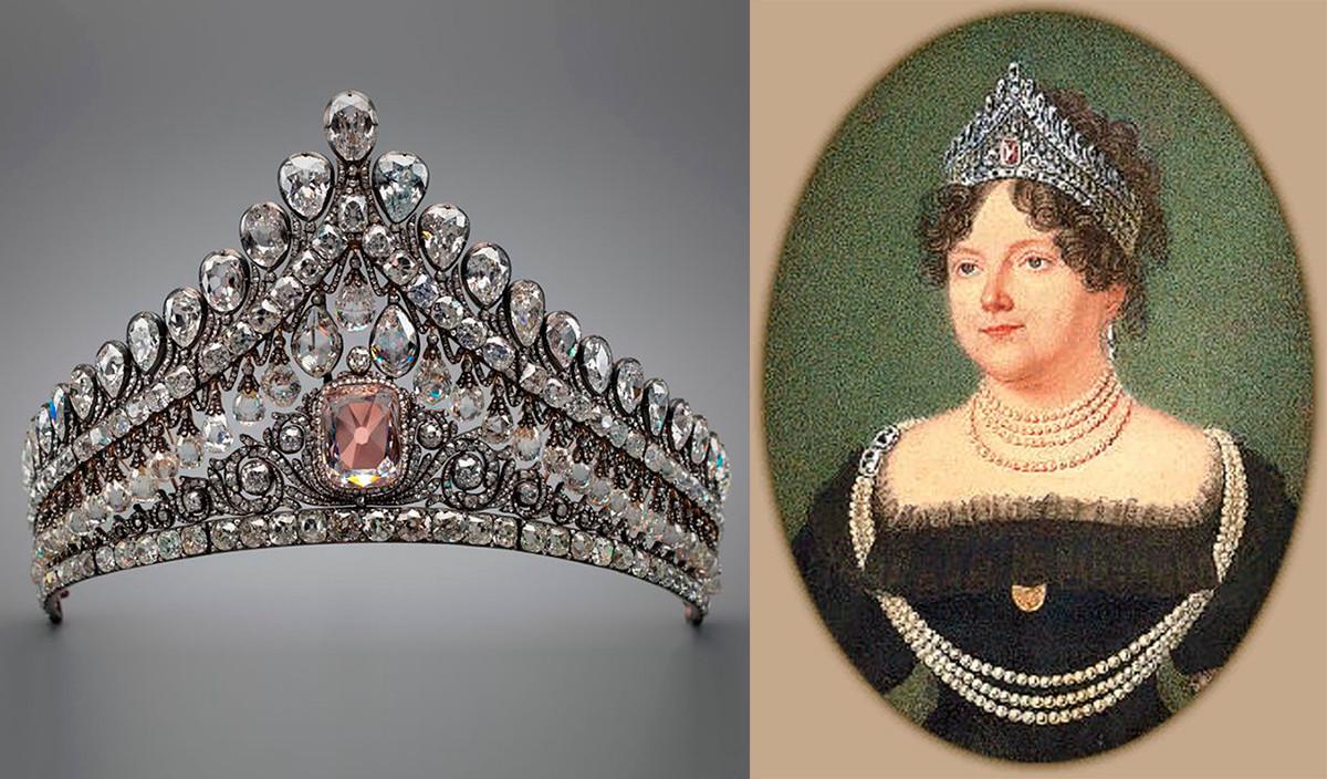 Тијара са ружичастим дијамантом и Марија Фјодоровна.