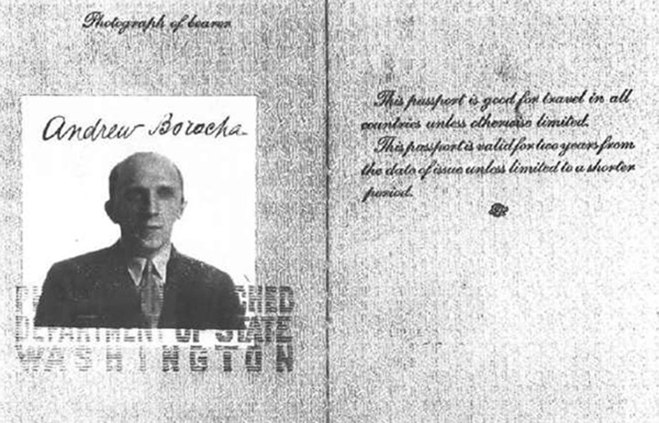 Lažni potni list, izdan za Serebrjanskega za delo v ZDA