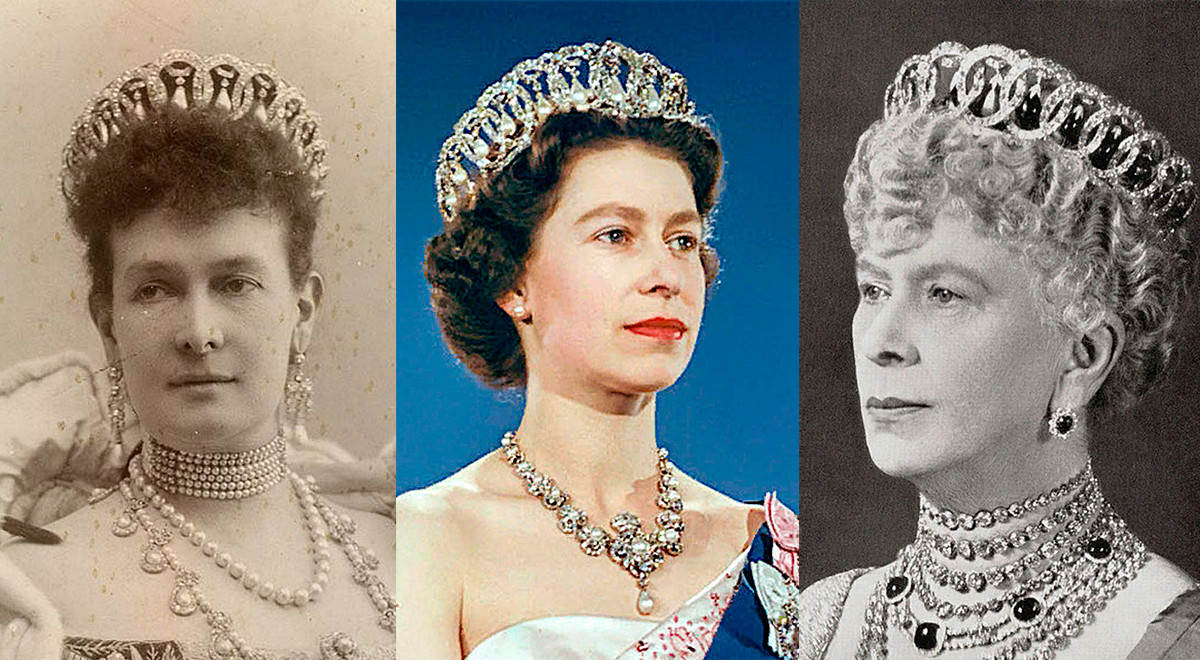Maria Pavlovna avec la tiare (variante avec perles), Élisabeth II, et Mary de Teck (variante avec émeraudes)