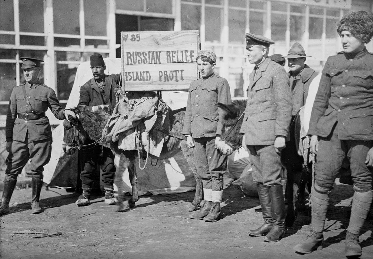 Руски ръководители на багаж в пристанището на Проти