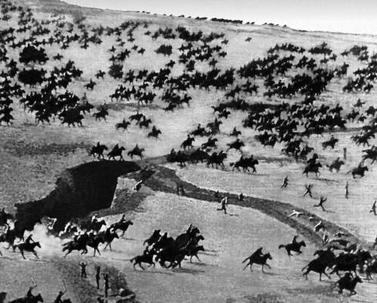 La caballería roja en acción.