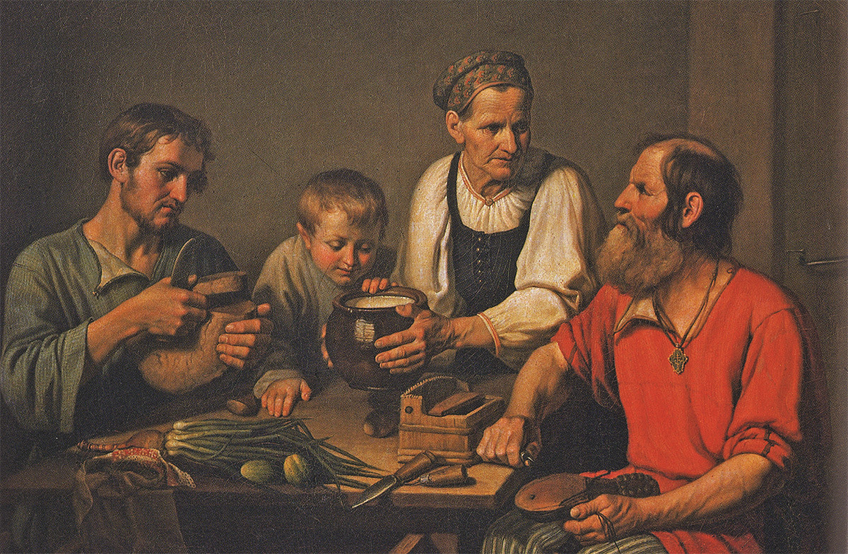 F.Solntsev. Peasants family during lunch, 1824.