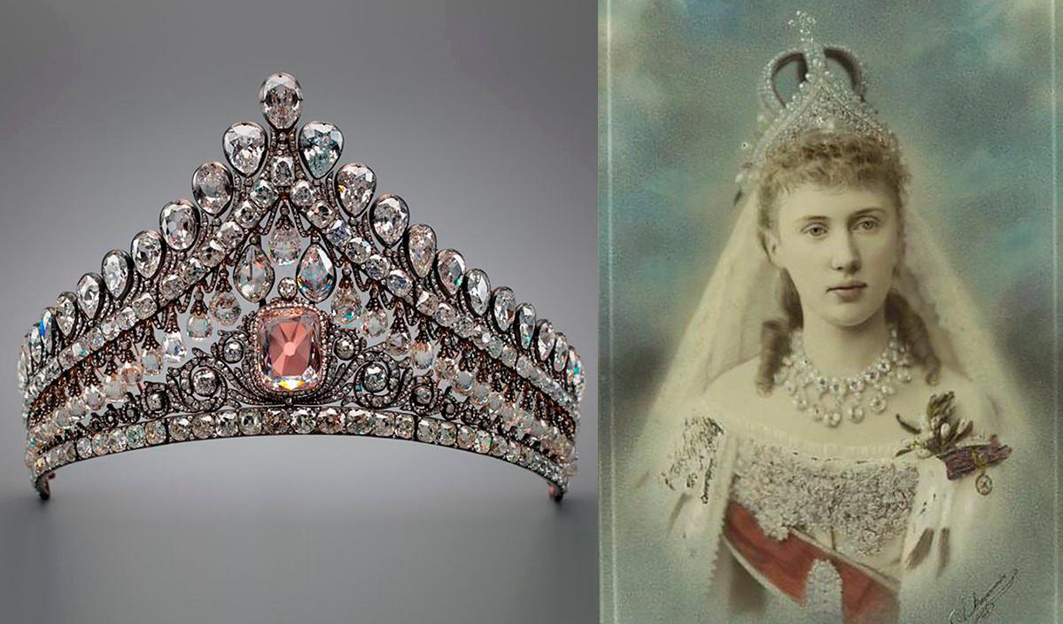 Диадема с розовым бриллиантом и Принцесса Елизавета в свадебном платье, венчальной короне и этой диадеме, 1884 год.
