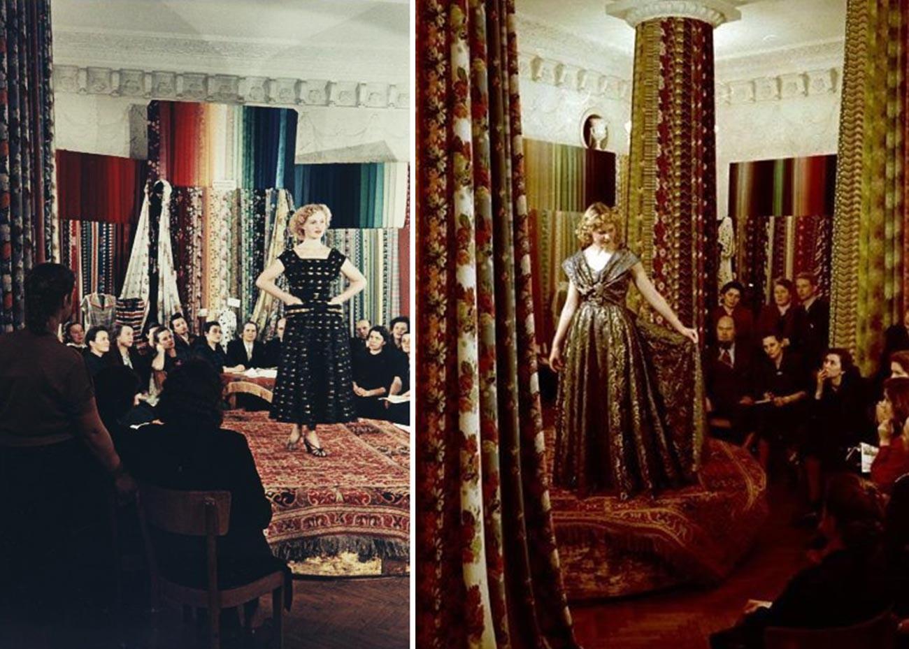 Vorstellung einer Damenkollektion, 1950er Jahre.
