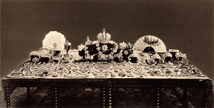 This photo shows the Romanovs' treasures found by Bolsheviks and prepared for sale.