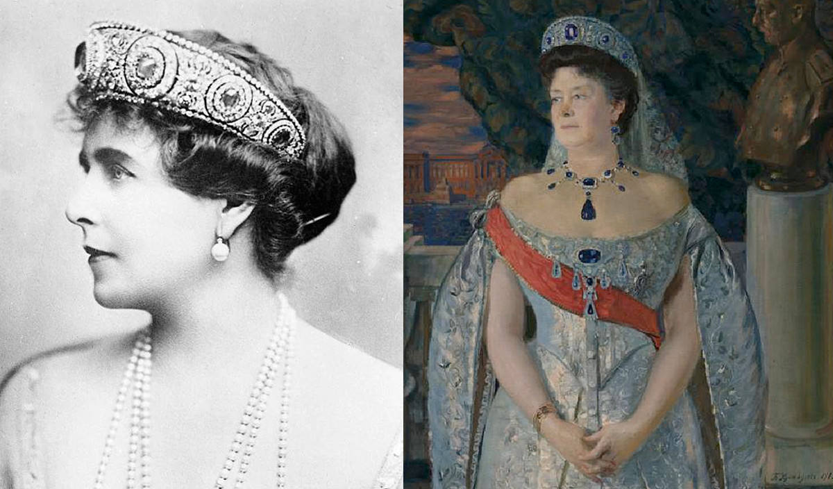 Queen Marie and Maria Pavlovna in sapphire tiara.